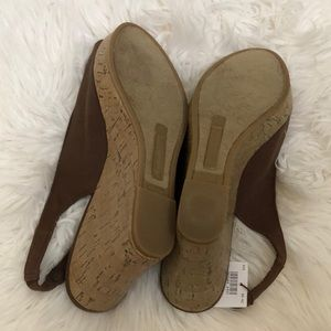 American Eagle Outfitters Shoes - NWT AE Peep Toe Flower Brown Slingback Cork Wedges